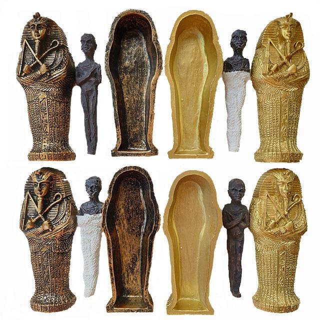 1 pcs Resin Oude Egyptische Coffin Figurine Sculptuur Egypte Mummie Standbeeld Kleine Ornamenten Miniatuur Model Aquarium Decoratie