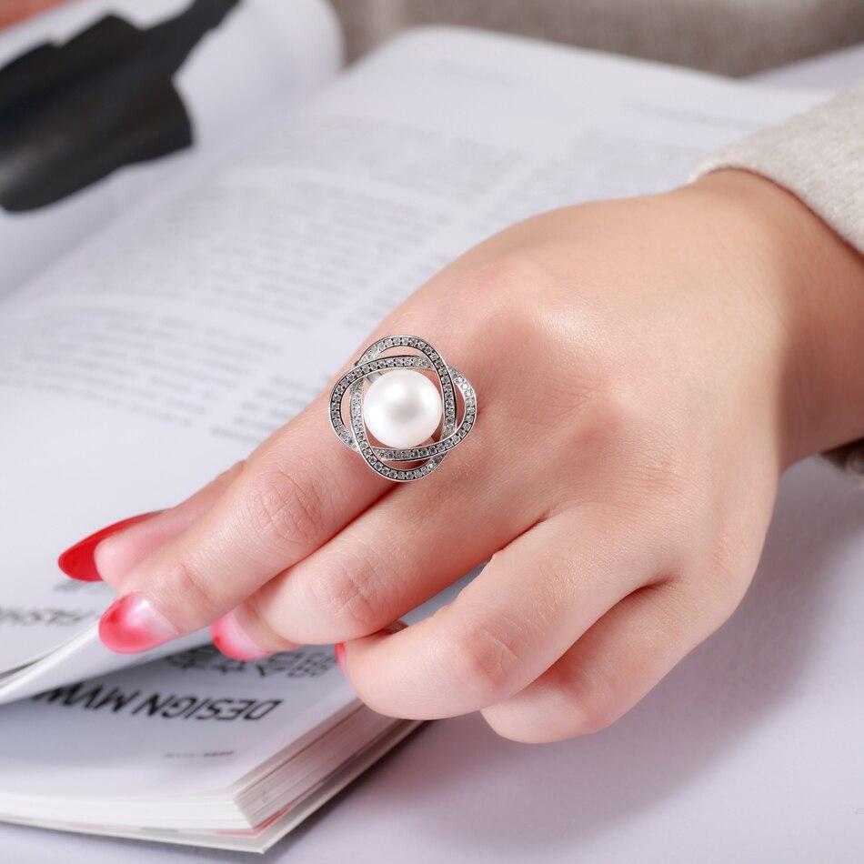 Elegant Luxury 925 Sterling Silver Big Pearl Ring for Women Wedding ...