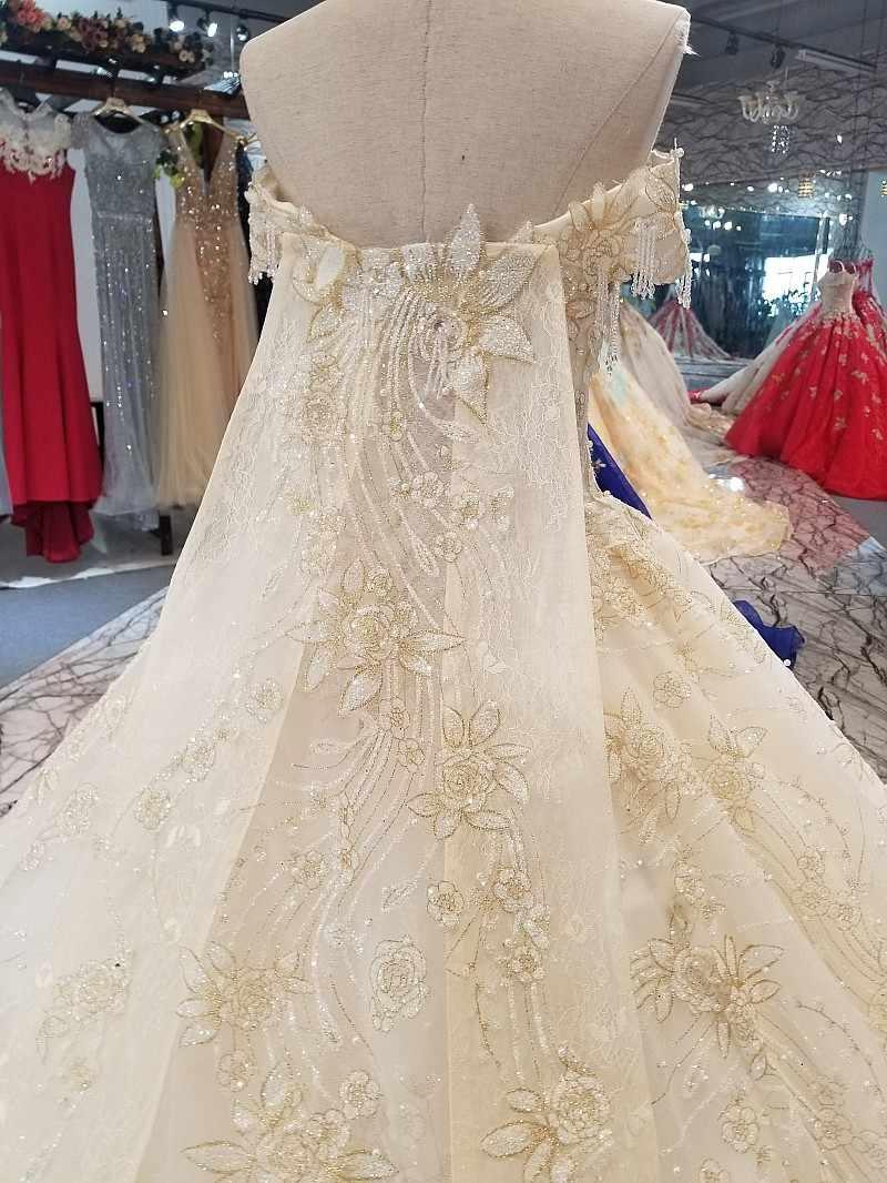 LS65119 платье люксМилая торжественное платье с бисером с открытыми плечами Шампанское Свадебное торжественное платье ing платье длинный мыс 2018 новейший дизайн