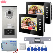 Video Door Intercom For 2 Apartments RFID Access Door Camera 7InchVideo Door Phone Residential Security + Electric Strike Lock
