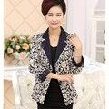 2016 Blazers Impressão Mulheres Novas de Meia Idade Mãe Roupas Primavera E No Outono Single-breasted Turn-down Collar Curto Terno casaco J325