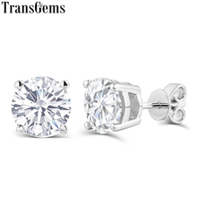 Fine Jewelry Platinum Plated Silver Moissanites Stud Earrings Total 2 Carat Diamond Lab Grown Gem 6-Prong Earring