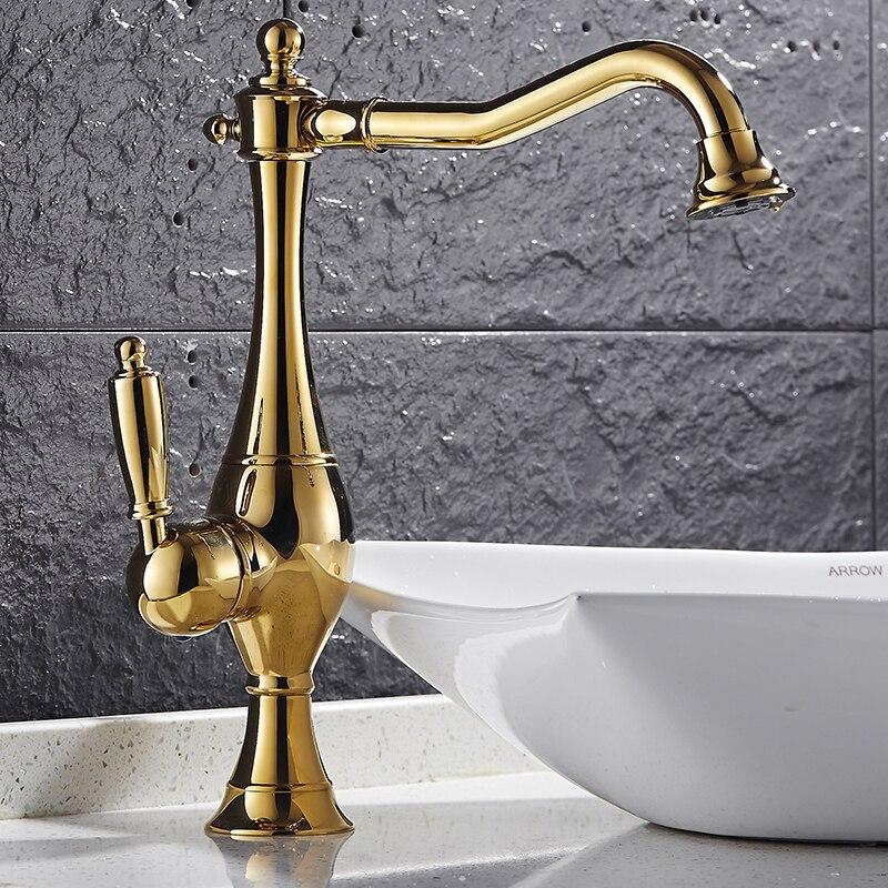 SHAI Neue Ankunft Europäischen Retro Stil und Gold Oberfläche Küche Wasserhahn Bad Becken Wasserhahn Durch Messing Waschbecken Wasserhahn Wasser Mischer tippen