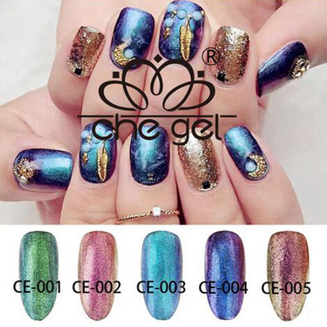 Good Qualith CHEGEL 6 ML Semi Permanen Nail Chameleon Series Lacquer 5 Colors UV Glitter Glue For Professional Varnish Shop