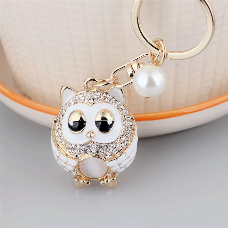 Owl Keychain Rhinestone Pearl Cute Women Metal Car Key Chain Ring Cover Holder Purse Handbag Bag