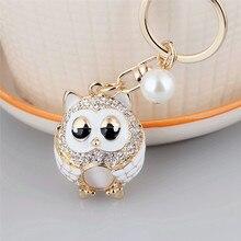Owl Keychain Rhinestone Pearl Cute Women Metal Car Key Chain Ring Cover Holder Purse Handbag Bag Charm Trinket Chaveiro Llaveros