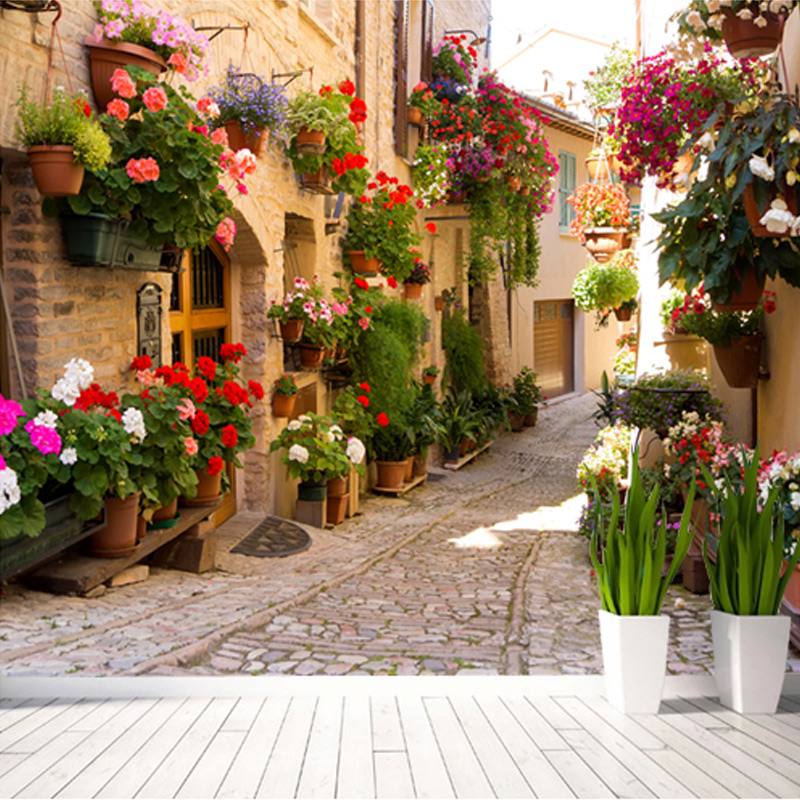 Customized European Street Scenery Mural Wallpaper Colorful Flower In The Alley Wall Mural Printed Home Decor 3D Photo Wallpaper the woman in the photo