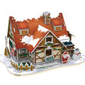 Creative 3D Puzzle Warm Christmas House Toys for Children's Christmas Present, Hot Paper Material DIY Jigsaw Puzzle