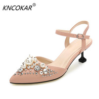 In 2017, the spires of fashionable new women's shoes are hollow Water drill pearl sandals,5.5CM High heels women's sandals 34 40