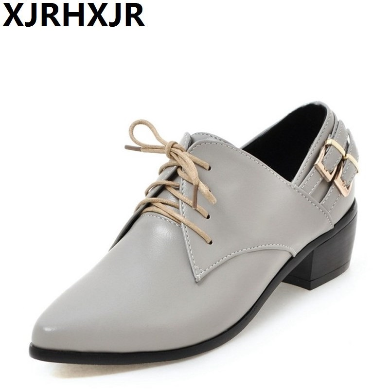 XJRHXJR Women Shoes Pumps Pointed Toe Four Seasons Single Shoes Lace-up Solid Pu Leather Fashion Mature Med Heels Oxford Shoes 2016 women leg cross lace up single flat gold silver shoes lady pointed toe sole single shoes hot female stra shoes 35 39