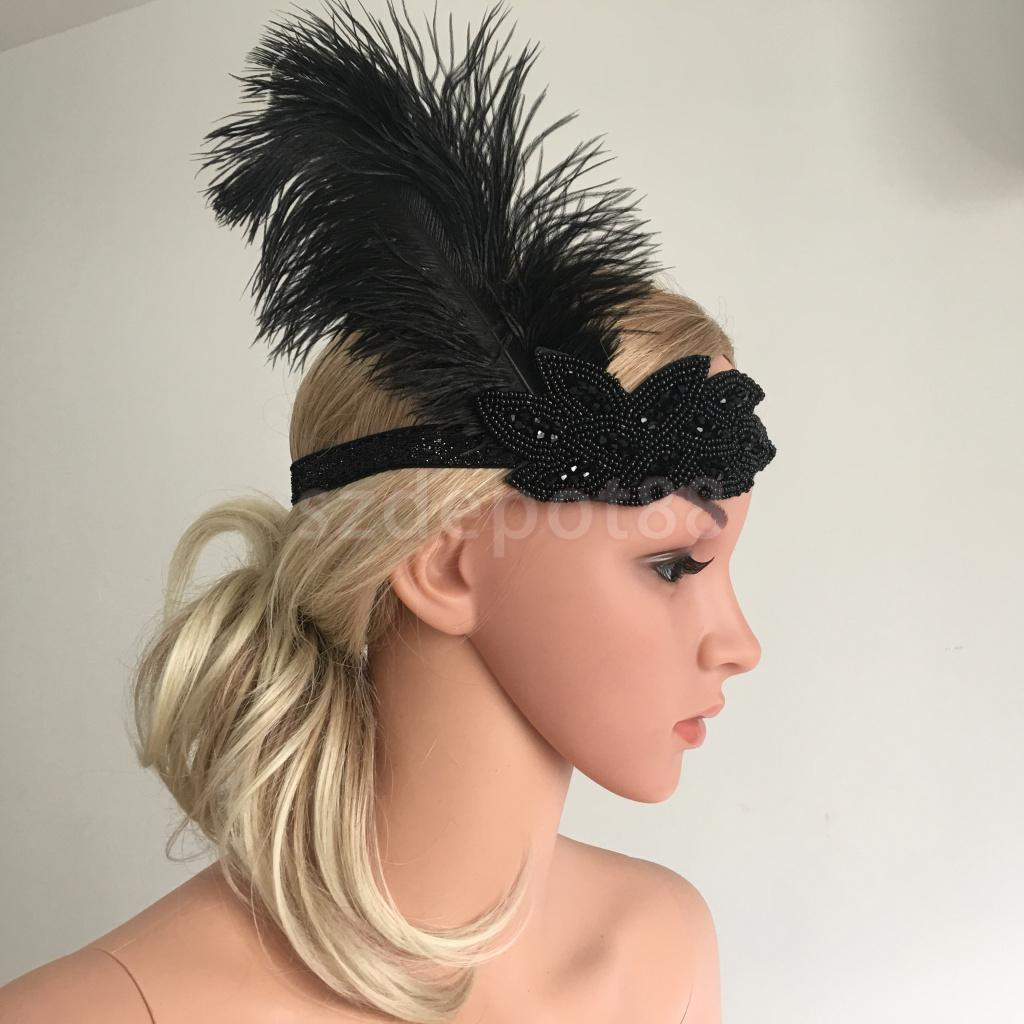 Vintage Lady Feather Applique Bead Headband Headpiece Hair Accessories
