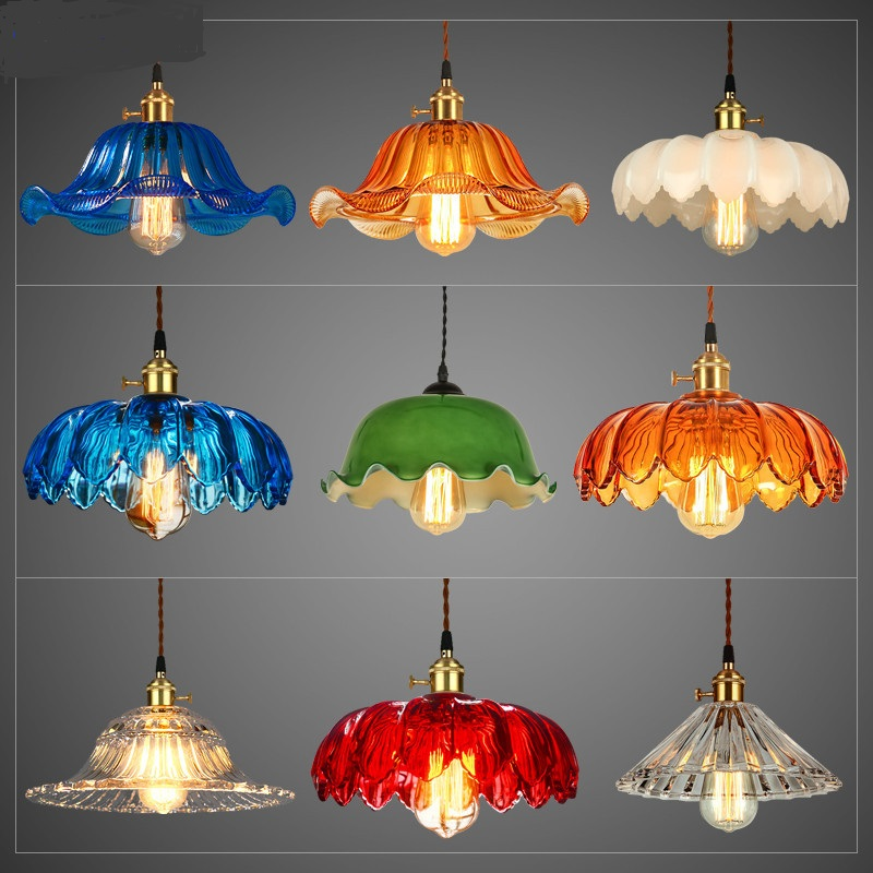 lamps Retro nostalgia of the Old Republic head restaurant bar coffee shop personality color glass pendant light the little old lady in saint tropez