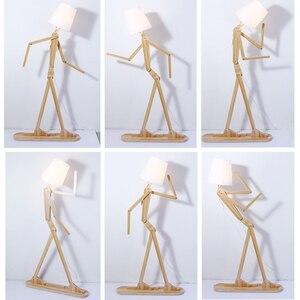 Image 5 - 日本スタイルのクリエイティブ diy の木製のフロアランプ北欧木製生地スタンドライトリビングアールデコ調の照明