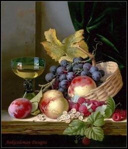 Image 1 - Haft Counted Cross zestaw do szycia robótki rzemiosła 14 ct DMC DIY sztuki ręcznie Decor kosz z brzoskwiń i winogron