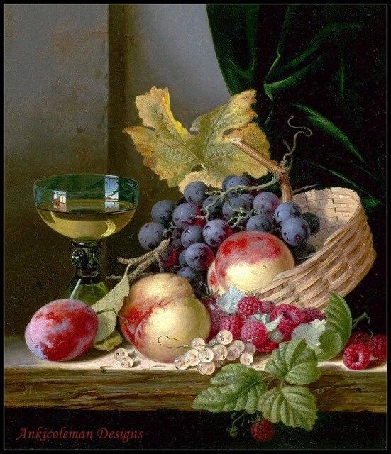 Haft Counted Cross zestaw do szycia robótki rzemiosła 14 ct DMC DIY sztuki ręcznie Decor kosz z brzoskwiń i winogron