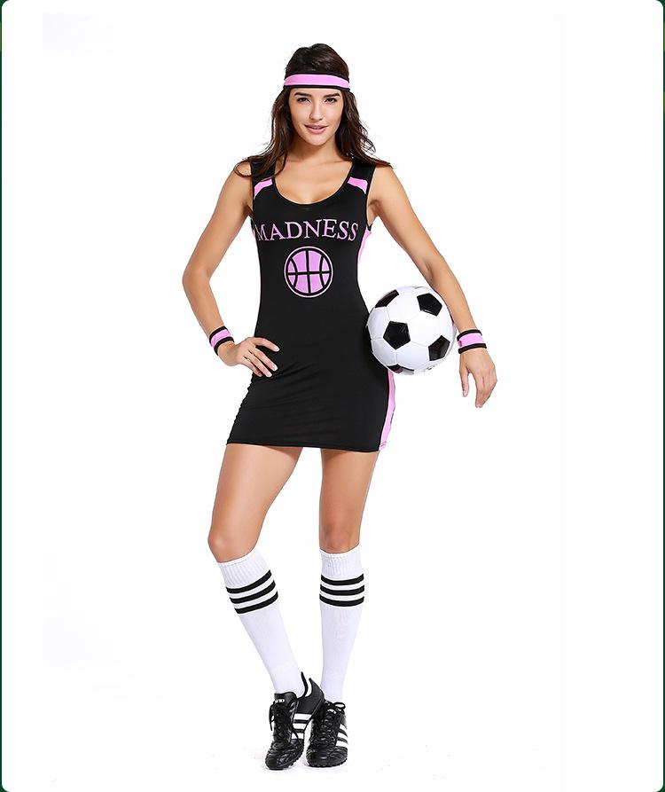 2018 Russian Football Baby Costume Sexy Tank Dress For Women Black ... 1b33c73092