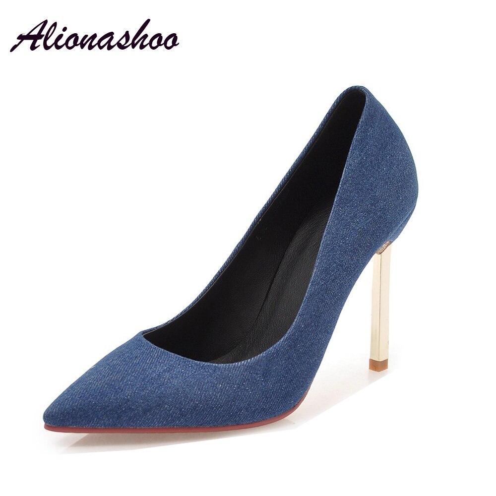 Alionashoo Brand Shoes Woman High Heels Pumps Blue High