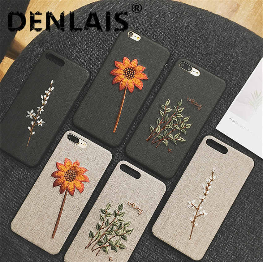 Luxury Embroidery 3D Silicone Case For Iphone 8 7 Plus X 6 S Plus Phone Case Retro Flower Soft Cover For Iphone 7 XR XS Max Capa