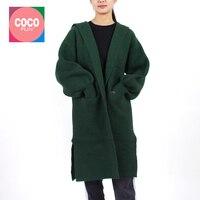 2019 Women Fashion Autumn Winter Long Jacket Coat With Cap Female Casual Sweater Cardigan Long Lantern Sleeve Thick Warm COCOFUN