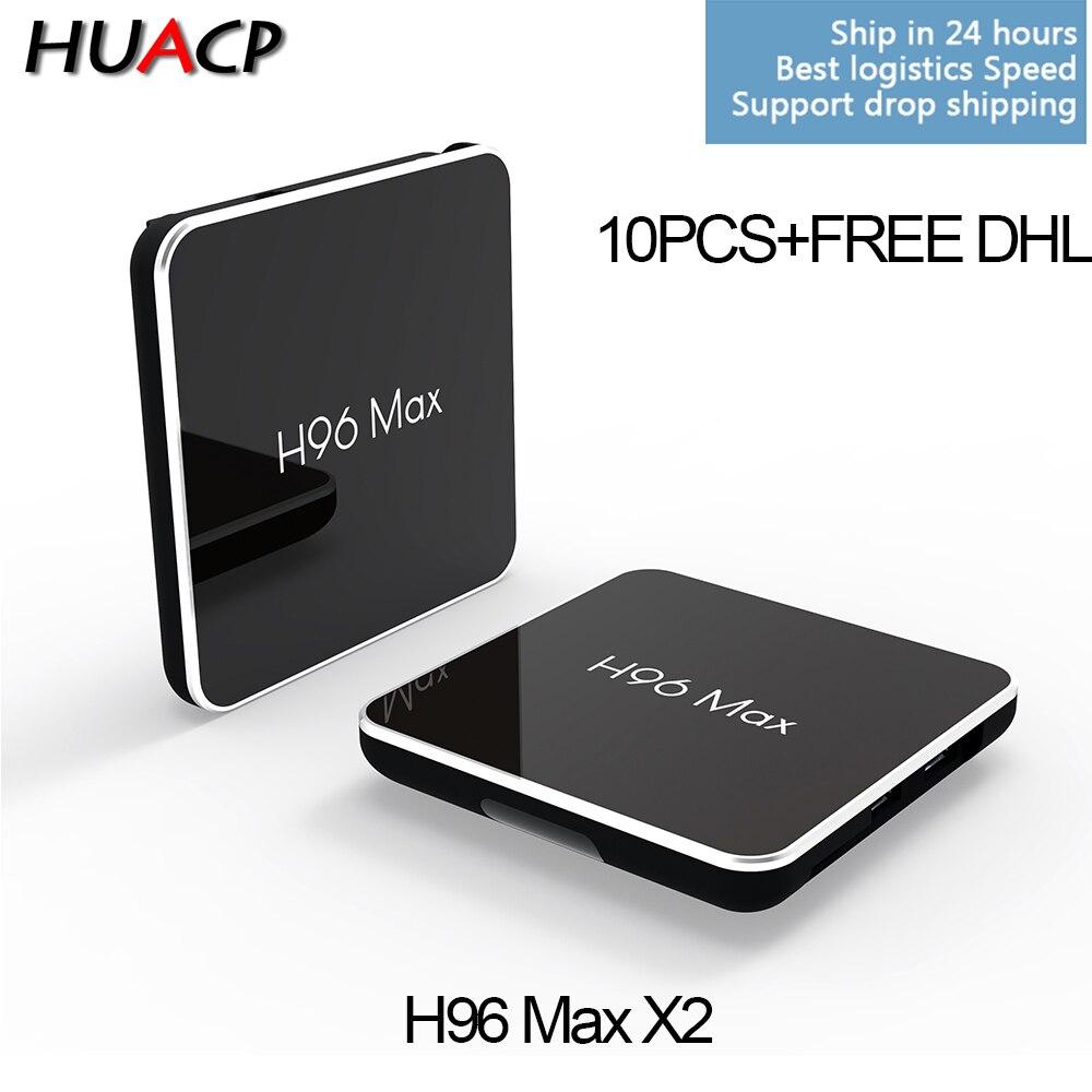 10PCS/LOT HUACP H96 Max X2 Android 8.1 S905x smart TV Box 4GB RAM 32GB 64GB ROM Set Top Box S905X2 2.4G/5G Wifi 4K wholesale mi mi max 32gb silver