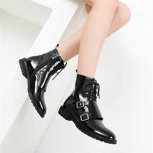 Image 4 - FEDONAS Quality Genuine Leather Cow Patent Leather Women Ankle Boots Lace Up High Heels Female Party Shoes Woman Short Boots