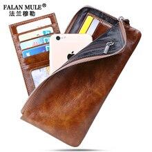 FALAN MULE Brand Vintage Men Wallets Slim Genuine Leather Wallet Men Clutch Purse Credit Card Holder
