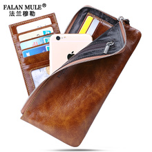 FALAN MULE Brand Vintage Men Wallets Slim Genuine Leather Wallet Men Clutch Purse Credit Card Holder