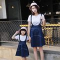 matching mother daughter clothes mother daughter dresses 2016 summer T-shirt + denim strap dress  Family look mom daughter suit