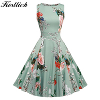 Kostlish Cotton Summer Dress Women 2017 Sleeveless Tunic 50s Vintage Dress Belt Elegant Print Rockabilly Party