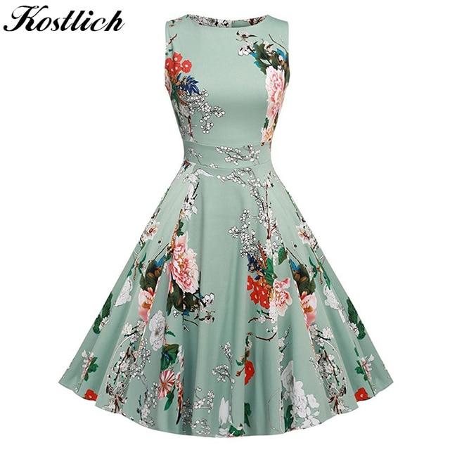 Kostlish Цветочный принт летом dress женщины 2017 рукавов туника 50s Vintage Dress пояс элегантный печати рокабилли платья сарафан платье женское платья женские летние платья