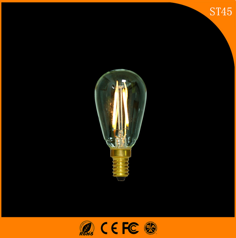 50PCS Retro Vintage Edison E14 LED Bulb ,ST45 2W Led Filament Glass Light Lamp, Warm White Energy Saving Lamps Light AC220V e14 2w 180lm 3000k warm white light 2 led filament bulb transparent ac 220v