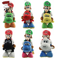 Super Mario Bros Plush Toys 7'' 18cm Mario Riding Yoshi Luigi Riding Yoshi Soft Stuffed Plush Doll Baby Toy for Children 1 PC