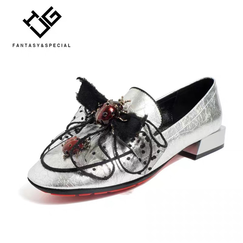 IGU 2019 Newest Spring Women Leather Shoes Sliver Genuine Real Leather Sapatos Feminino Couro Casual Shoes For Female Bow Retro IGU 2019 Newest Spring Women Leather Shoes Sliver Genuine Real Leather Sapatos Feminino Couro Casual Shoes For Female Bow Retro
