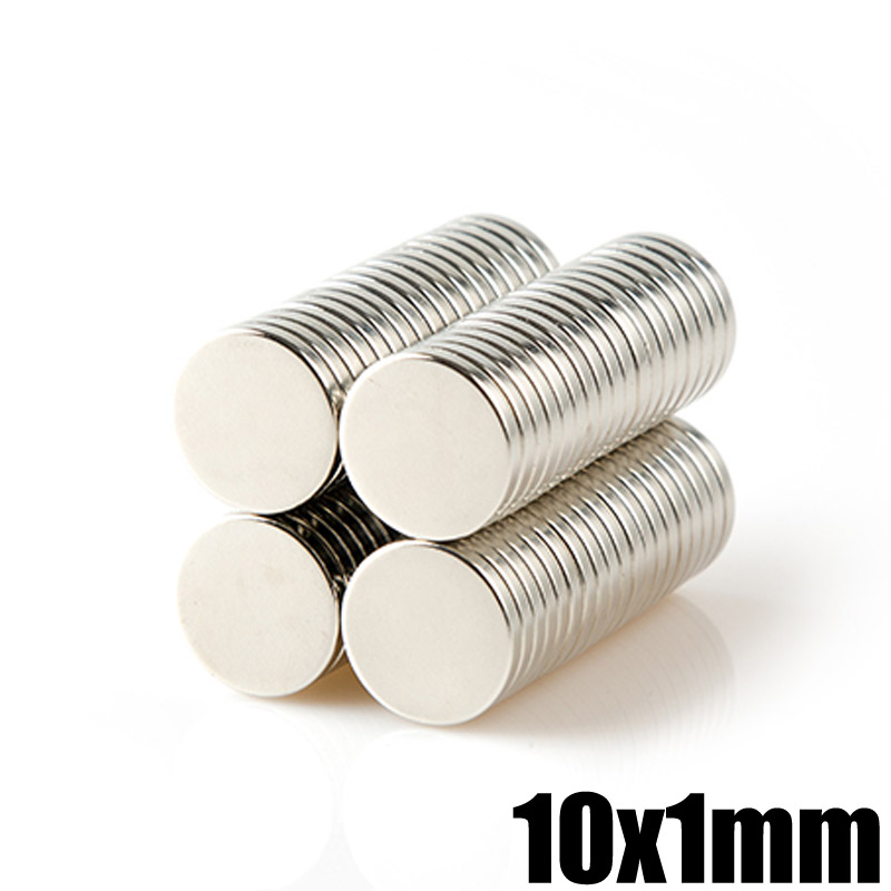 100Pcs 10x1 Neodymium Magnet Permanent N35 10mm x 1mm NdFeB Super Strong Powerful Magnetic Magnets Small Round Disc 3 x 4 8mm cylindrical ndfeb magnet silver 100pcs
