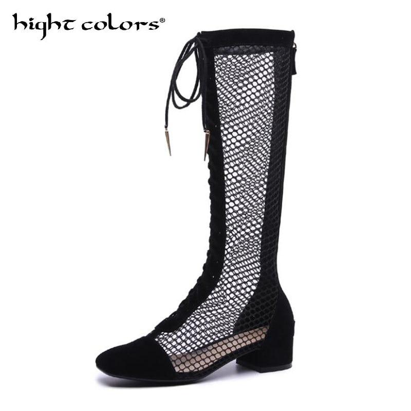 Marque Design résille Patchwork printemps été bottes chaussures femme avant croix attachée évider carré talon Cool botte pour les femmes