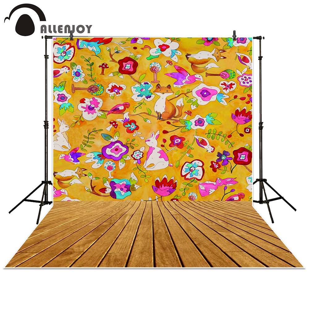 Allenjoy photography backdrop Cartoon forest fox rabbit board baby shower children background photo studio photocall 300cm 200cm about 10ft 6 5ft fundo butterflies fluttering woods3d baby photography backdrop background lk 2024