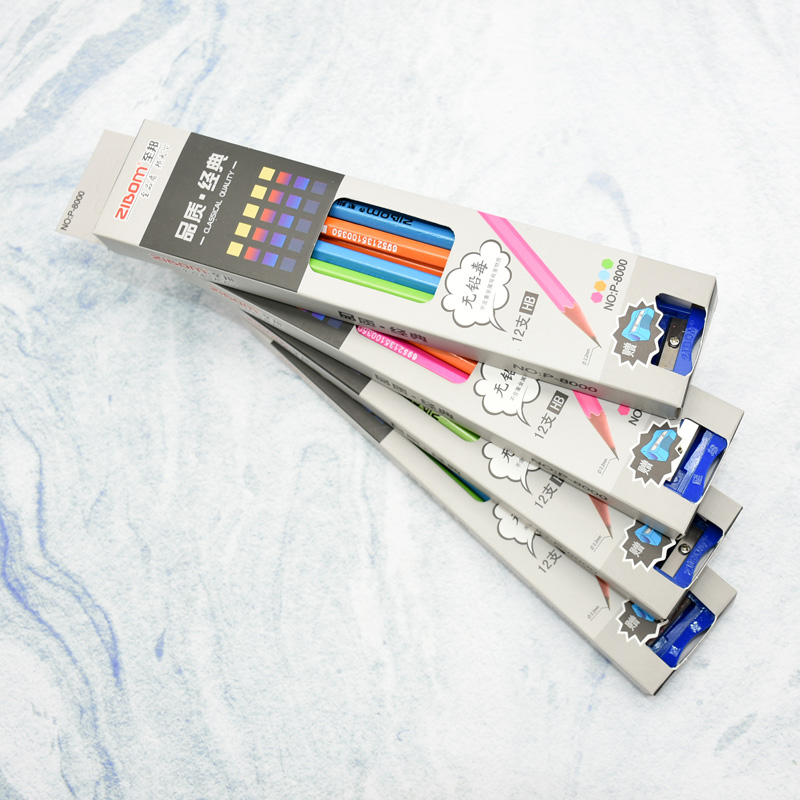 5 boxes of simple four-color student school pencils environmental protection first-class wood shell HB pencil learning