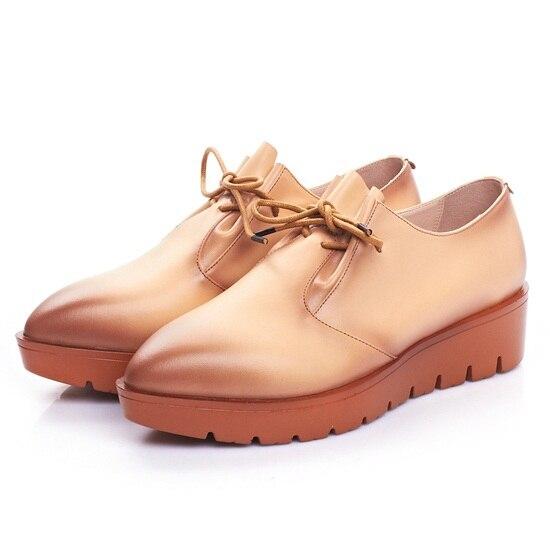 ФОТО Retro temperament design of leather street style show thin shoes flat Women Black Brown female spring line platform