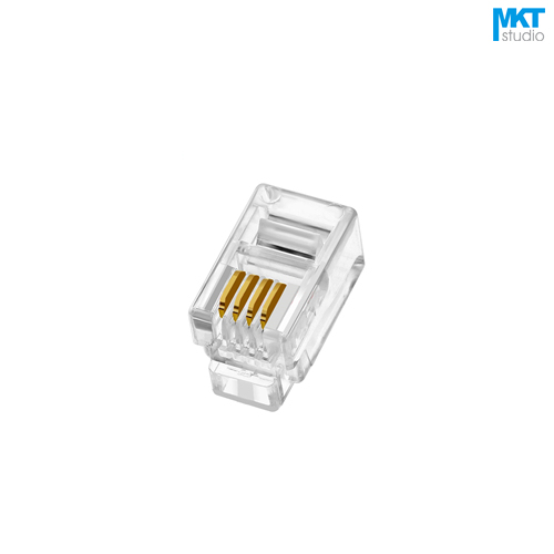 100Pcs 4P4C 4 Pins 4 Contacts RJ10 Telephone Modular Plug