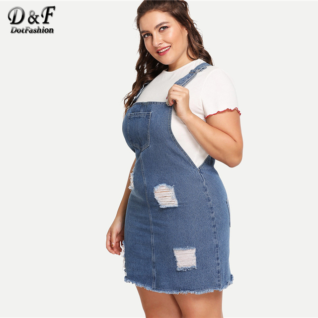 Dotfashion Plus Size Blue Frayed Edge Distressed Denim Overall Dress Women 2019 Casual Summer Clothes Straps Sleeveless Dress 4