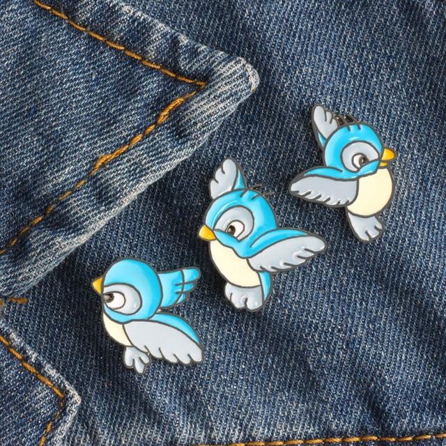 3 Pcs/set Simple Cartoon Cute Blue Bird Enamel Brooch Pins Hot Sale Clothes Badg