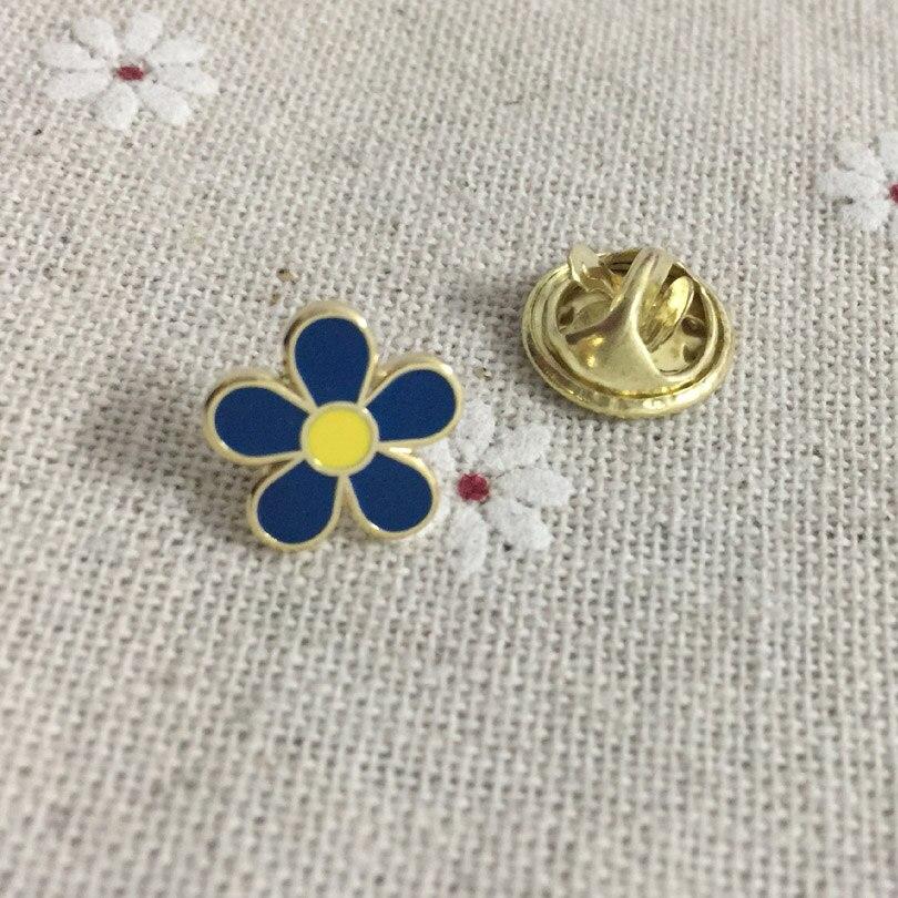 100pcs Freemasonry Masonic Lapel Pin Metal Badge Craft Small Size Elegant Pins Blue Flower Brooches Enamel