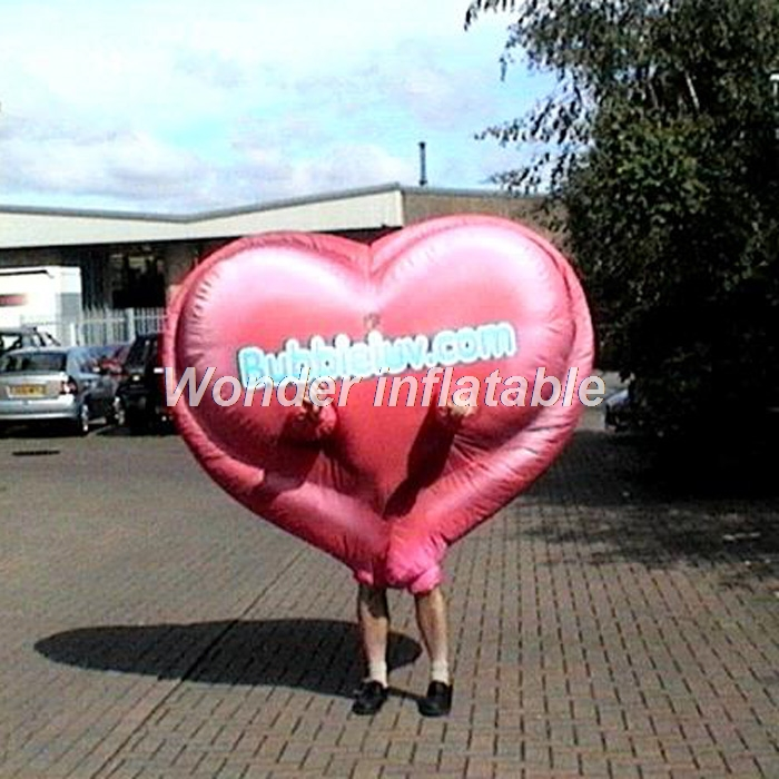 Customized adult funny moving red inflatable heart costume inflatable mascot costume for event display