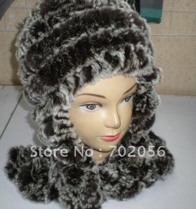Rex Rabbit Fur Hat Cap Scarf/Hood/hat LUXURY#2314