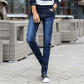 Calças de Brim dos homens Slim Fit Casuais Reta Calças de Algodão Stretch Meados Cintura Lápis Magro calças de Brim Azul para Os Homens 8012 Tamanho 27-36