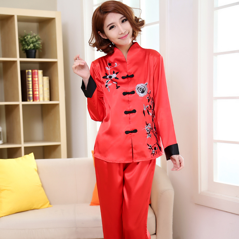 New Red Faux Silk Lady Pajamas Suit Embroidery Flower Pyjama Set Spring  Autumn Shirt Pant Sleepwear Nightwear 24b6d04d9