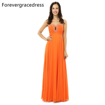 Forevergracedress Real Sample Orange Chiffon Evening Dress A Line Sweetheart Lace Up Back Long Formal Party Gown Plus Size