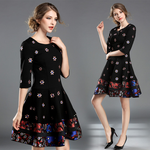 2017 fall women dress round collar embroidered flower black vintage retro clothes lady vestidos brand design quality dresses