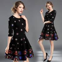 2017 Fall Women Dress Round Collar Embroidered Flower Black Vintage Retro Clothes Lady Vestidos Brand Design