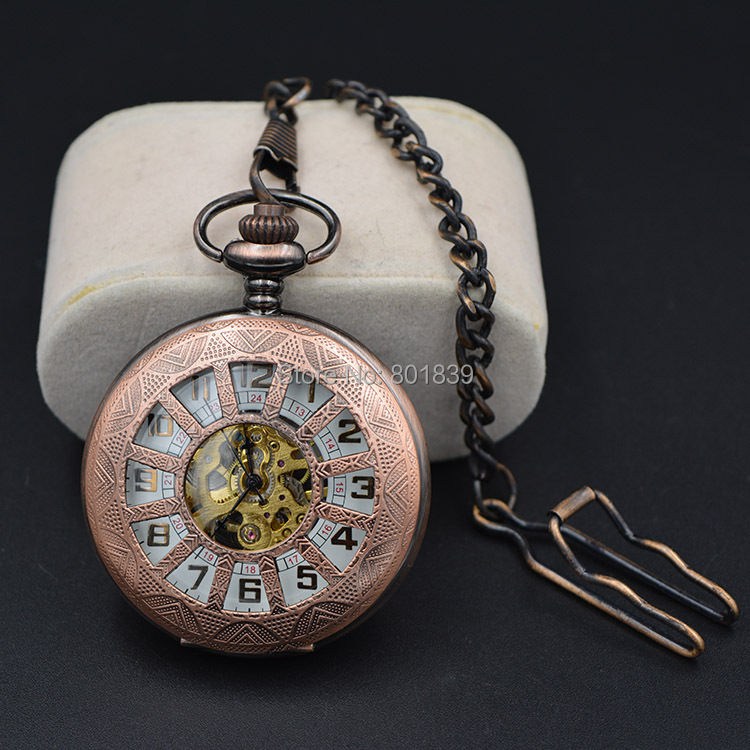 Classic Steampunk White Dial Mechanical Skeleton Steel Mens Copper Tone Hand Wind Pocket Watch Wholesale Price H245